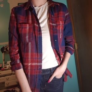 Red, maroon, and blue flannel